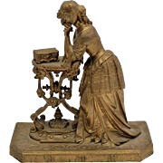 Lovely c1870s Bronze Sculpture of a Lady in Gown