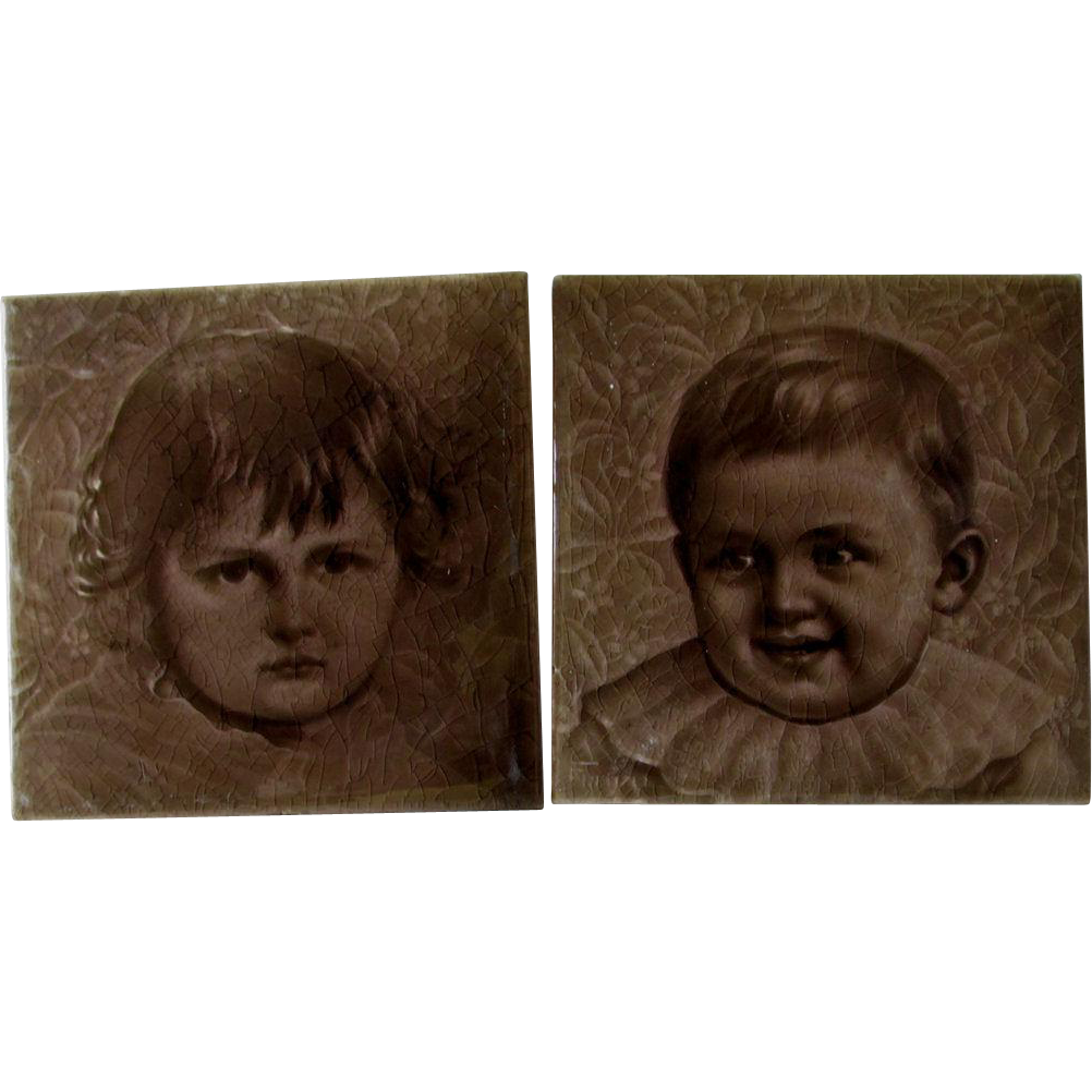 Pr c1887 Child Portrait American Encaustic Tile Co Tiles, Signed Freznel