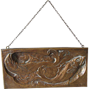 Lovely Antique Art Nouveau Bronze Bas Relief Plaque with Fish