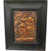 Antique Repousse Copper Plaque of a Renaissance Couple