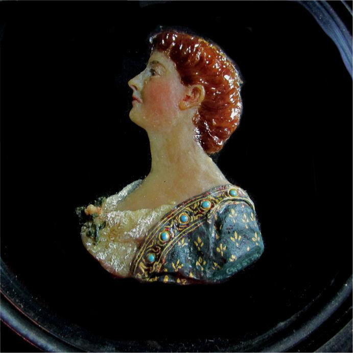 Fine Antique Victorian, Grand Tour Wax Miniature, Maria Stowell, Princeton NJ