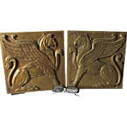 Pair Architectural Bronze Gothic Plaques of Griffin, Gargoyles