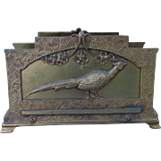 Lovely Gilt Art Nouveau Desk Letter Holder with Pheasant Bird