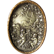 Lovely Antique Victorian Plaque of Nude and Cherubs in Garden