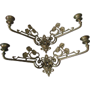 Pair Art Nouveau Poppy Flower Candle Sconces, Candlesticks