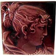 Antique Victorian Aesthetic Tile of a Lovely Lady, Trent Tile Co