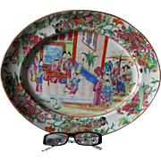 Antique Rose Mandarin Chinese Export Serving Platter