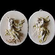 Pair Lovely European Bisque Porcelain Plaques Lady & Kissing Couple