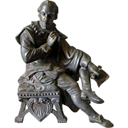 19thC Victorian Sculpture of William Shakespeare, Clock Top