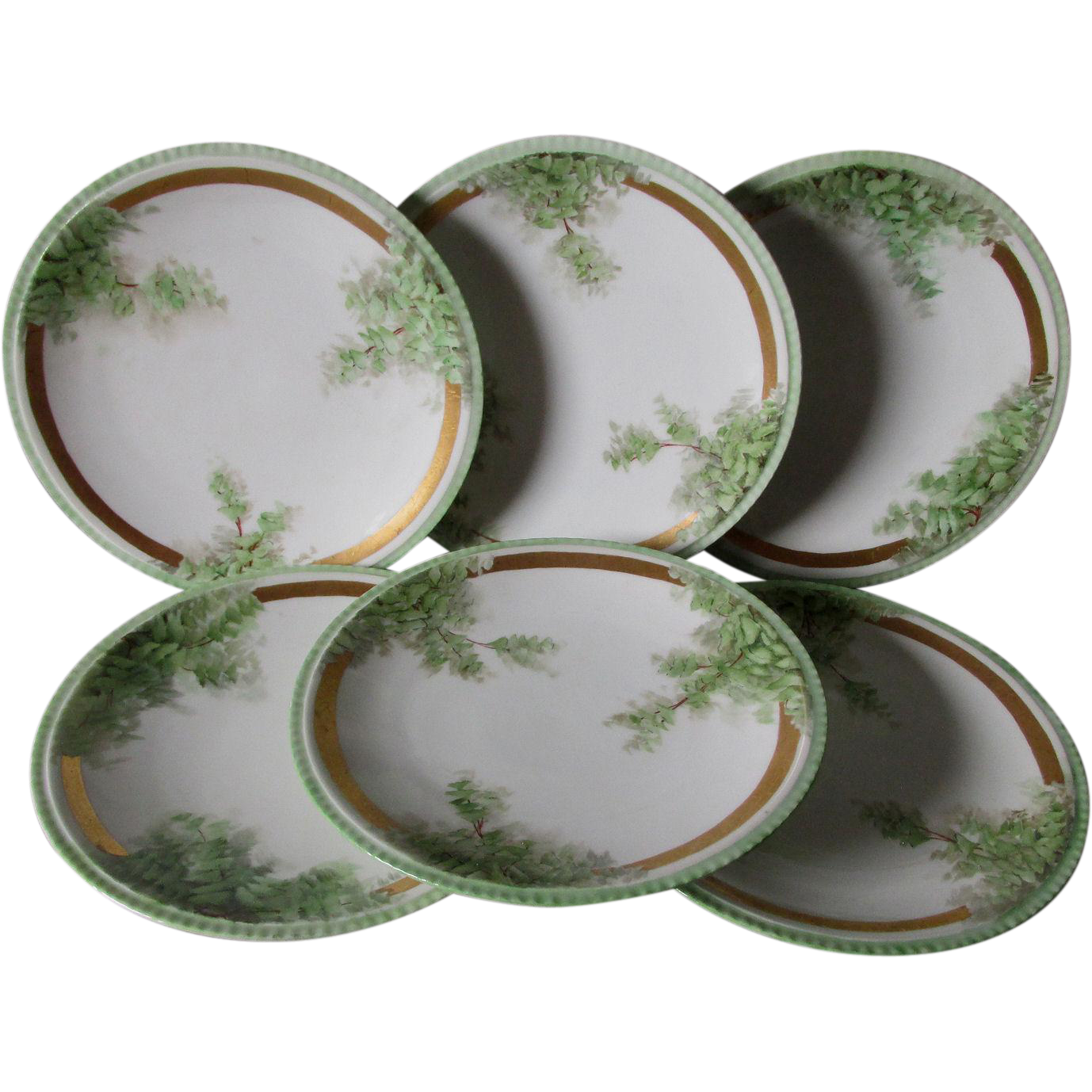 Lovely Set of 6 French Limoges Plates with Ivy, Ginkgo Leaf Motif