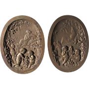 Pair 19thC Bronze Plaques Nudes and Cherubs in Garden