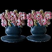 Pair c1920s Art Deco Flower Basket Cast Iron Bookends