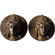 Fine Matched Pair of 19thC Gilt Bronze Plaques with Ladies Faces