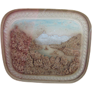 Fine Antique Miniature European Landscape Hand Carved Diorama