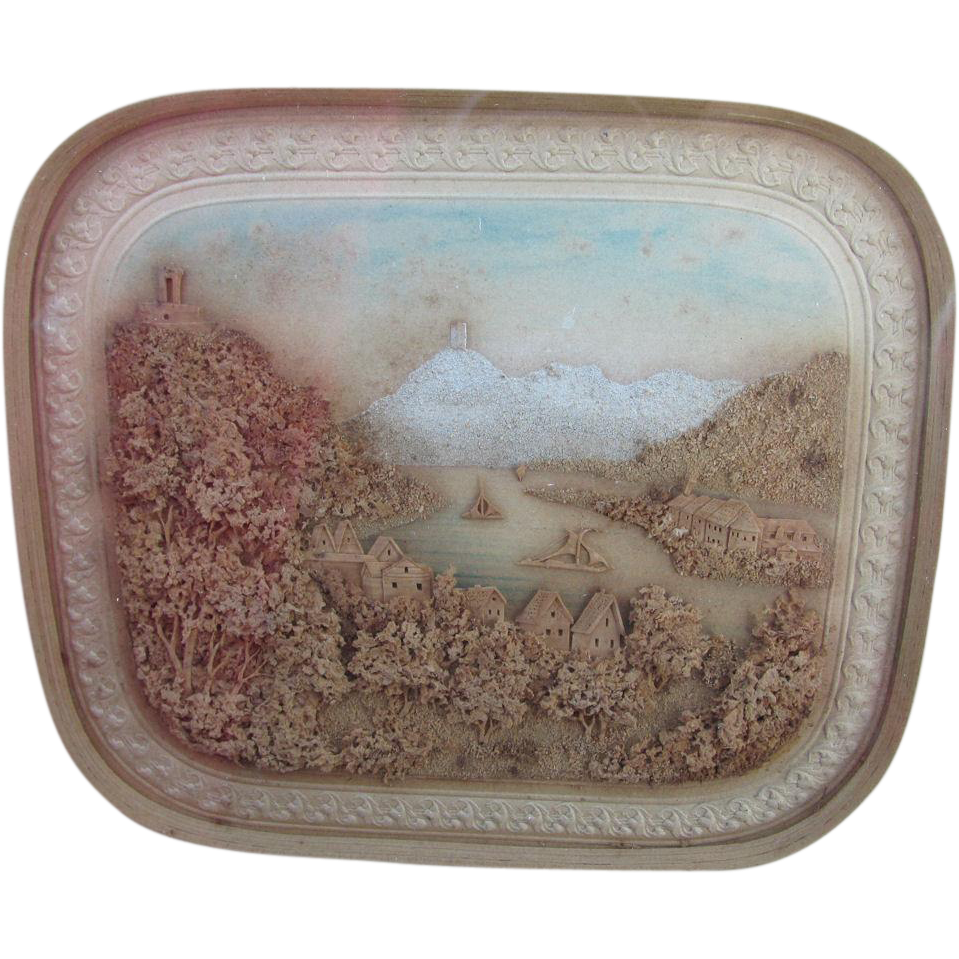 Fine Antique Miniature European Landscape Cork Diorama, Hand Carved