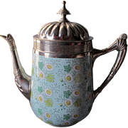 Antique French Agateware Coffeepot with Pretty Daisy Motif