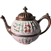 Antique French Agateware Teapot with Pretty Floral Motif