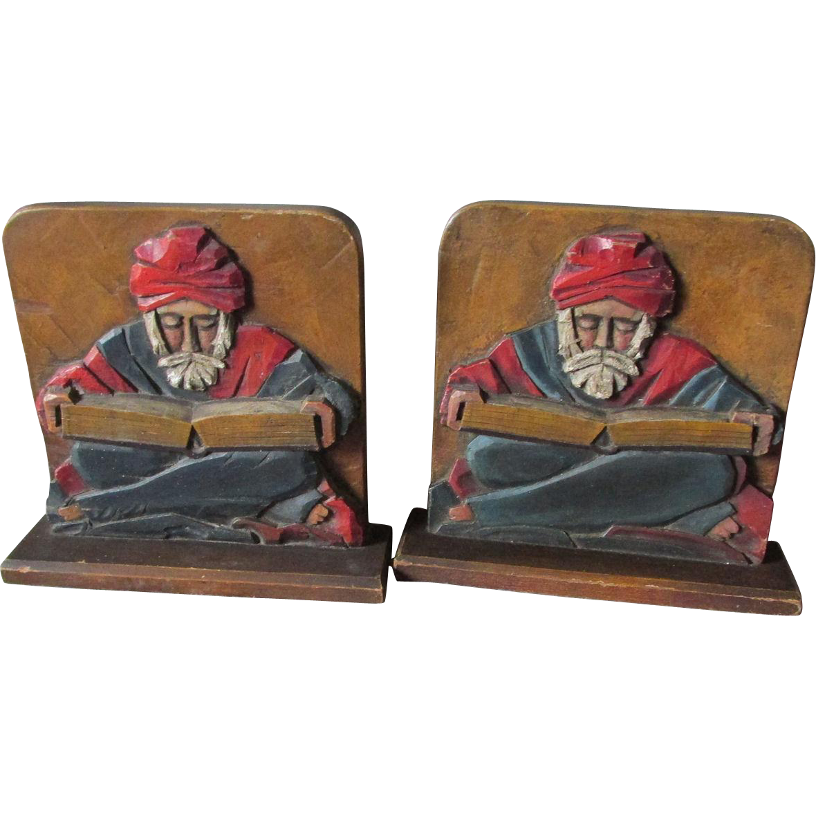 Pair Hand Carved Folk Art Bookends of Arab Men Reading Books