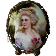 19thC Hand Painted Miniature Porcelain Plaque of French Lady with Roses
