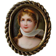 19thC Hand Painted Miniature Porcelain Plaque of Napoleon's Josephine