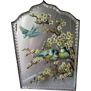 Lovely Hand Painted Vanity Mirror with Blue Birds & Flowers