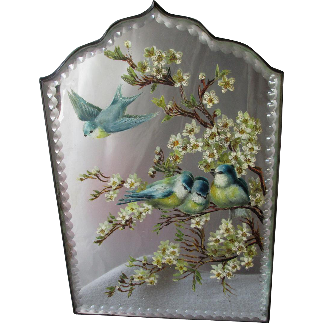 Lovely Hand Painted Vanity Mirror With Blue Birds