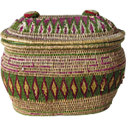 Unusual 19thC Native American Indian Sewing Basket with Wool Accents