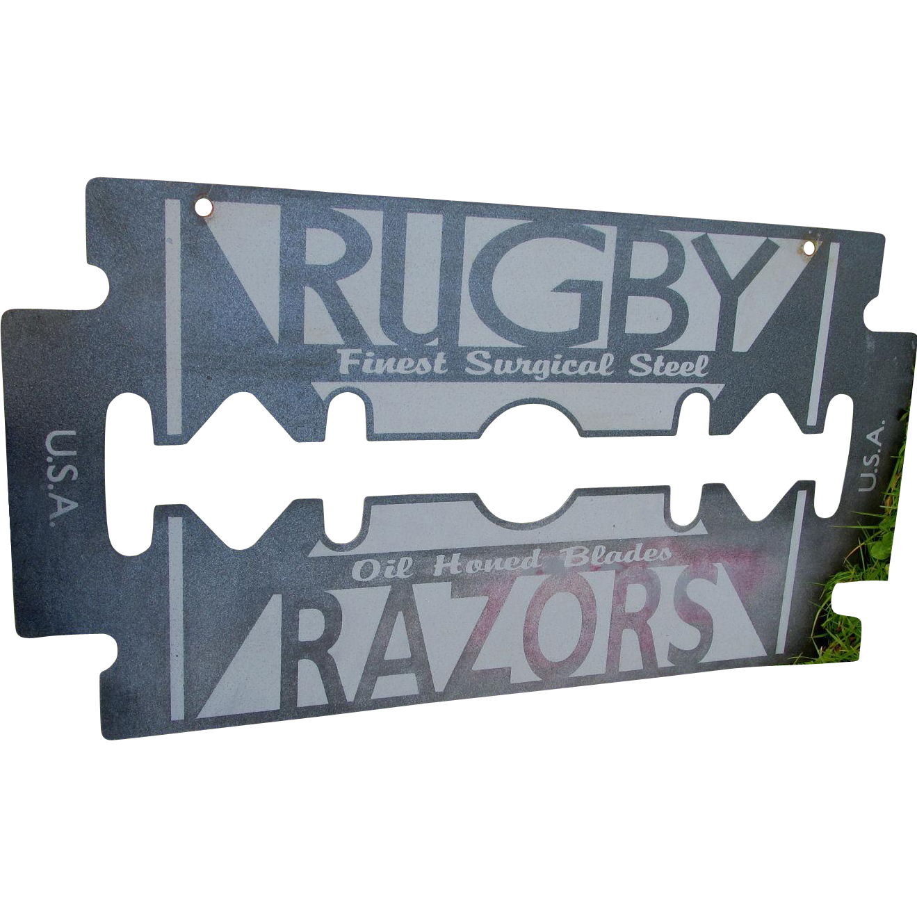 c1920s Rugby Razor Advertising Sign, Figural Razor Blade