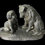 Antique Victorian Sculpture of a Little Dog & Her Dog