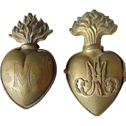 Pair Lovely Antique French Ex Voto Hearts, Catholic Ecclesiastical Lockets