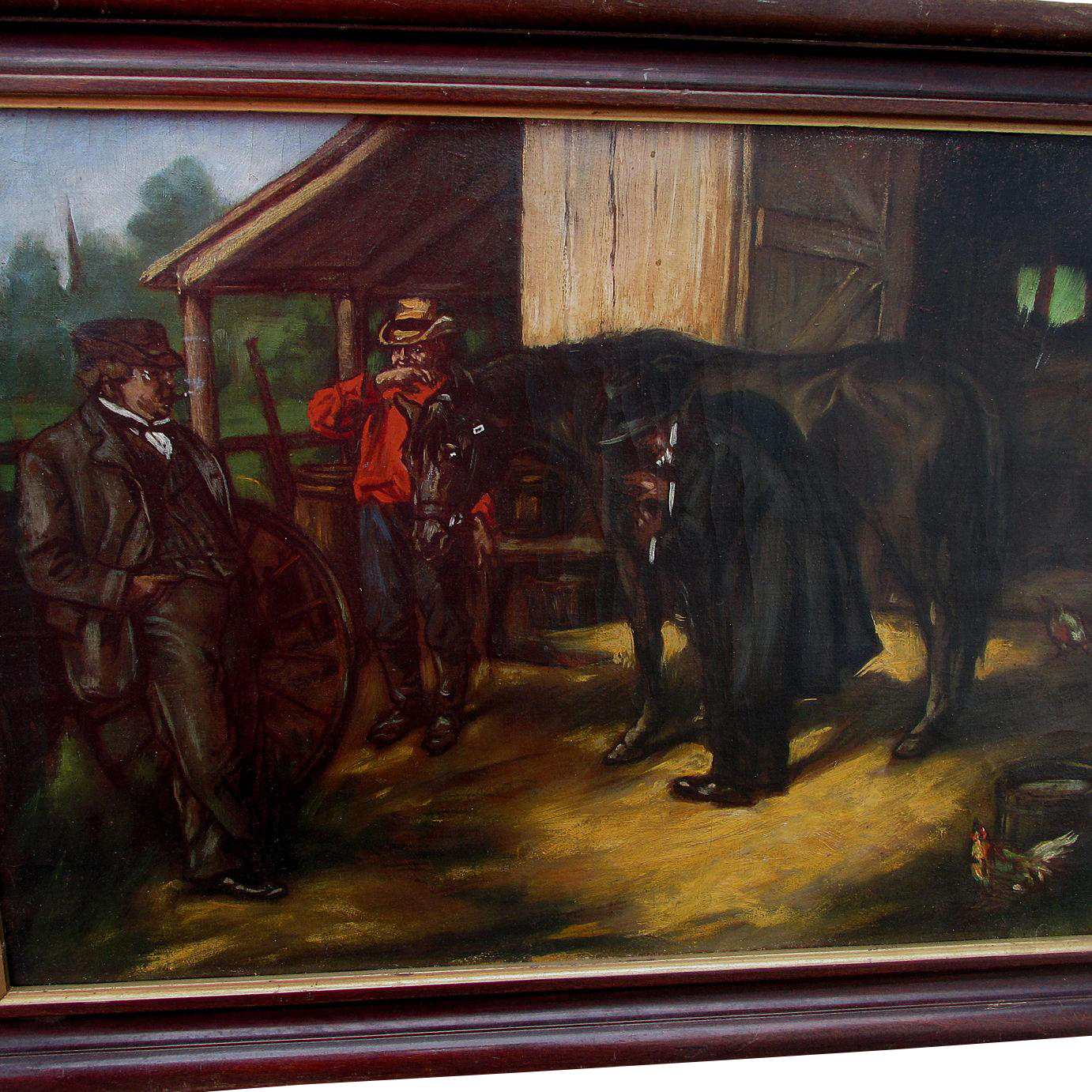 Antique Oil Painting of Country Veterinarian & Horse, Western