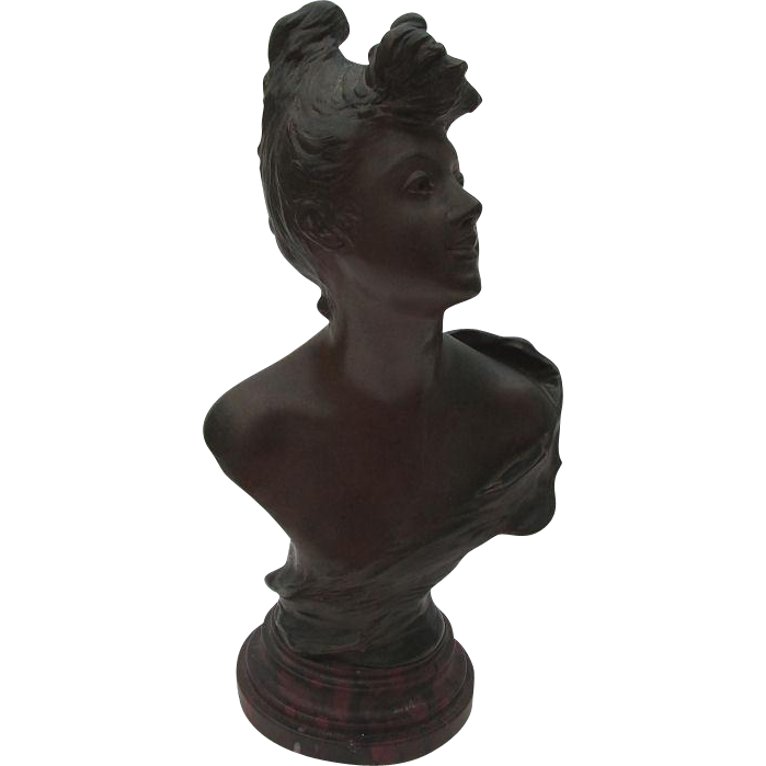 Lovely Antique French Bronze Bust of a Beautiful Young Woman