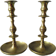 Lovely Pair 1800s Primitive Brass Caldesticks with Beehive Motif