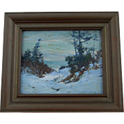 Listed Artist Alexander Bower Impressionistic Winter Landscape