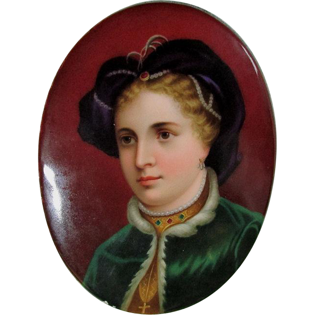Victorian Hand Painted Porcelain Plaque of Lovely Lady with Jewels