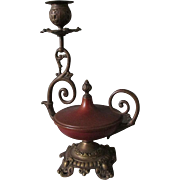 Pair Antique Mixed Metal Aladdin Lamp Candlestick, Red Bronze