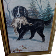 Nice Antique Oil Painting of a Spaniel Dog with Rabbit