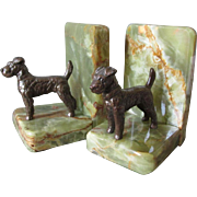 Pair Art Deco Terrier Dog Bookends with Marble Bases
