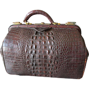 Rare Antique Alligator Leather Doctor Bag