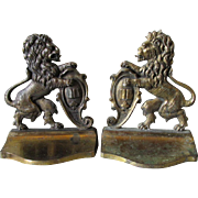 Nice Pair of Circa 1920s English Lion Rampant Cast Iron Bookends