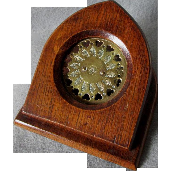 Big Antique English Brass & Oak Letter Clip, Paperclip