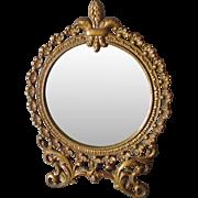 Antique French Fleur de Lis Vanity, Dressing Mirror, Picture Frame
