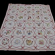 Fine Antique Embroidered Summer Quilt, Bedspread