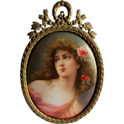 KPM, Royal Vienna Plaque of Beautiful Woman with Roses signed Wagner