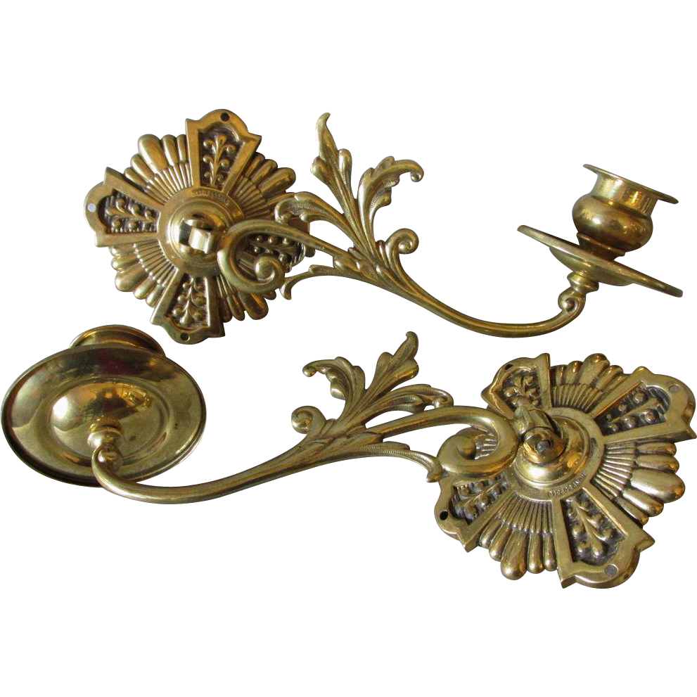 Pair Lovely c1897 Victorian Aesthetic Brass Candle Sconces