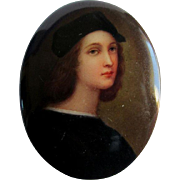 19thC Miniature Painting on Porcelain, Italian Painter Raphael