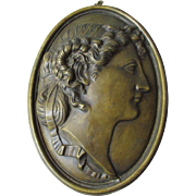 Antique Bronze Plaque of a Lovely Lady