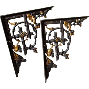 19thC Victorian Cast Iron Architectural Brackets with Fox, Wolf or Dog