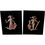Pair 19thC Patinated Bronze Plaques of German Renaissance Couple