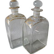 Rare Pair c1830s Blown Glass Bottles, Perfume, Vanity or Decanter Box